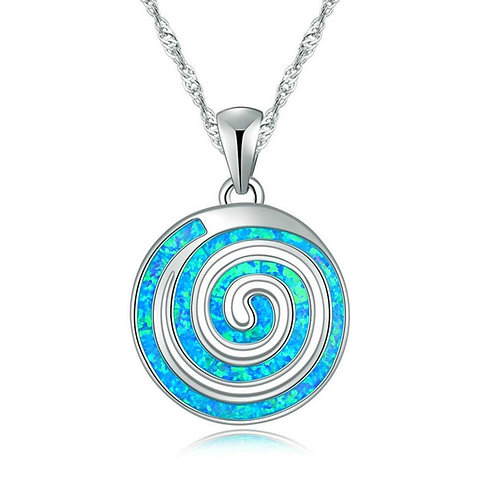 Exquisite Snail Round Spiral Design Blue Fire Opal Silver Necklace