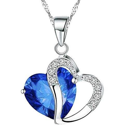 Blue Heart Crystal Rhinestone Silver Necklace Pendant