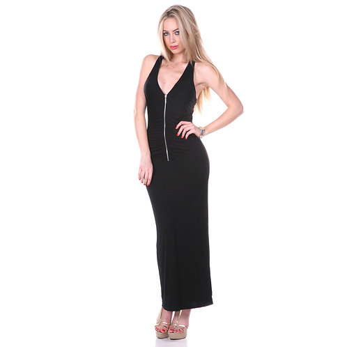 White Mark Black Chic Back Maxi Dress - Black - Size Small