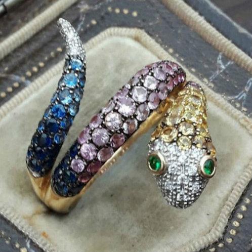 Elegant and Noble Fashion 18K Gold Silver Snake GemstoneRing