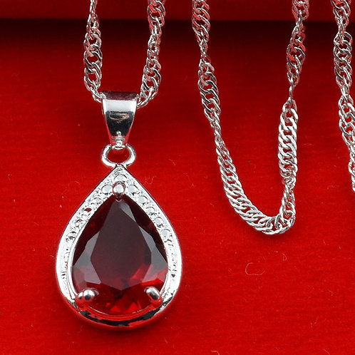 Charming 925 Sterling Silver Red Ruby Necklace Pendant
