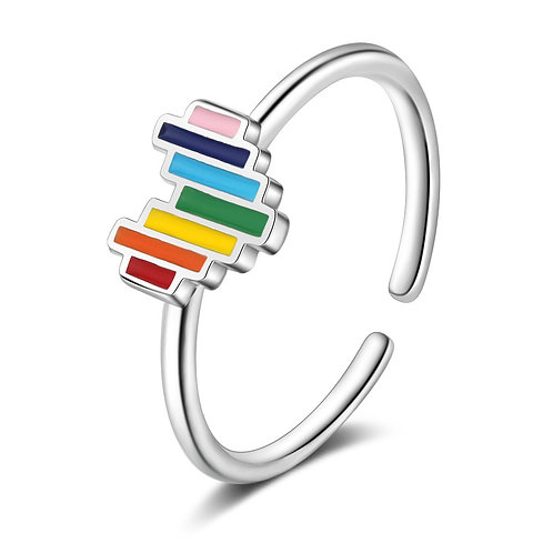 S925 Sterling Silver Rainbow Heart Open Ring