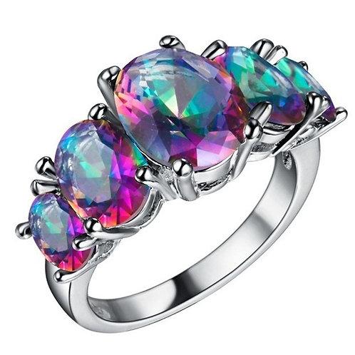 18K Gold Plated Mystic Topaz Rainbow Fire Topaz Ring