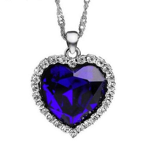 Titanic Ocean Crystal Rhinestone Heart PendantNecklace