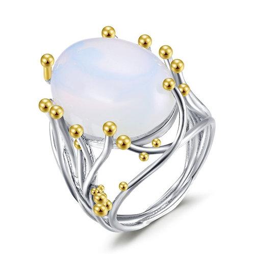 Unique Inlaid Moonstone Opal Fashion Ring