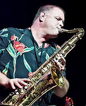 Jazz Consortium Big Band's Gary on solo tenor sax