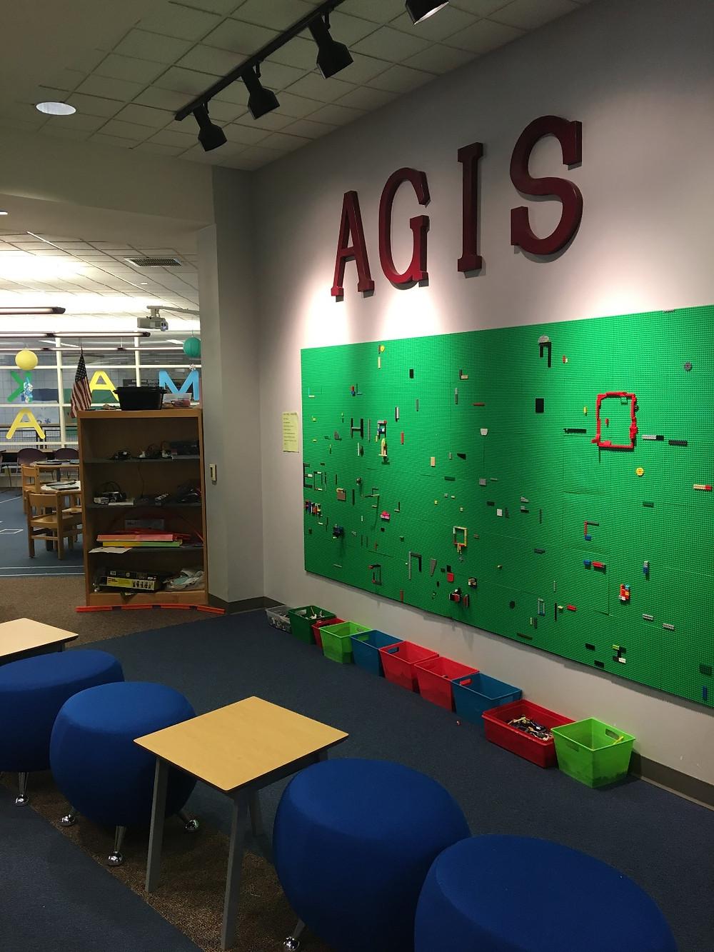 LEGO wall at Avon Grove Intermediate Schools Makerspace
