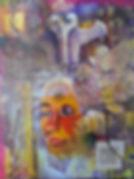 Maria-Patino-art-on-canvas-face-color-texture,3-eyes-multimedia-mixedmedia