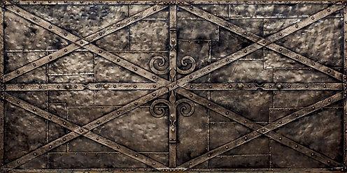 Historische Wandpaneele im Mittelalter- Stahldesign. Forg Designwand mit GFK Stahlpaneele für Interior Design und Fassadenverkleidungen.