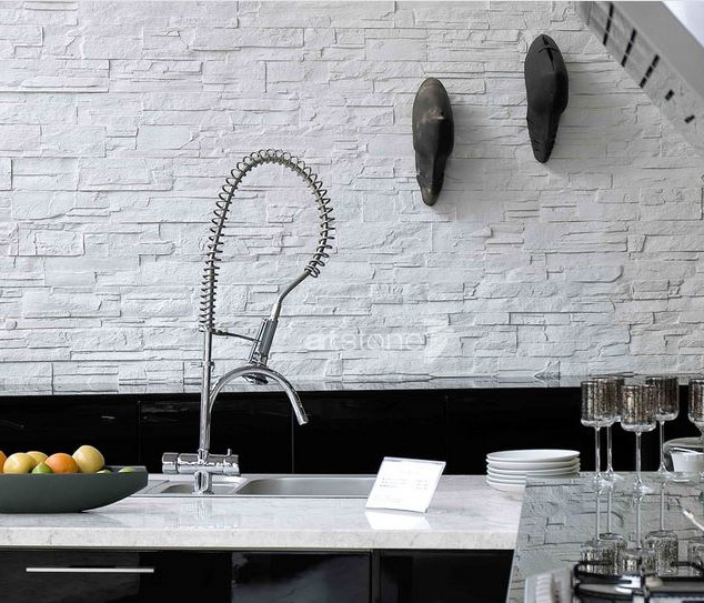 Küche | Weisse Steinoptik
