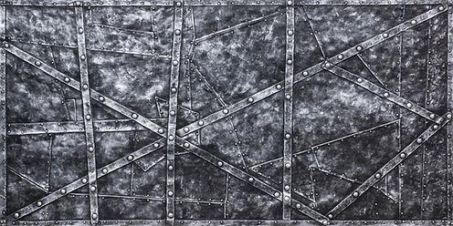 Designpaneele einer Eisenwand aus dem Mittelalter