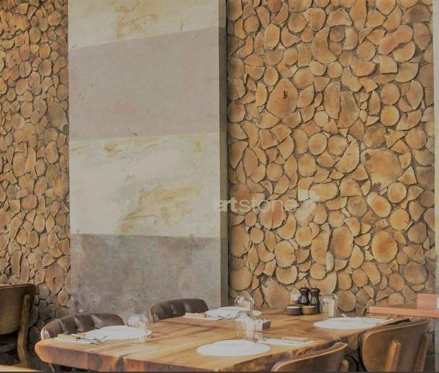 Holzstapel Wandplatte
