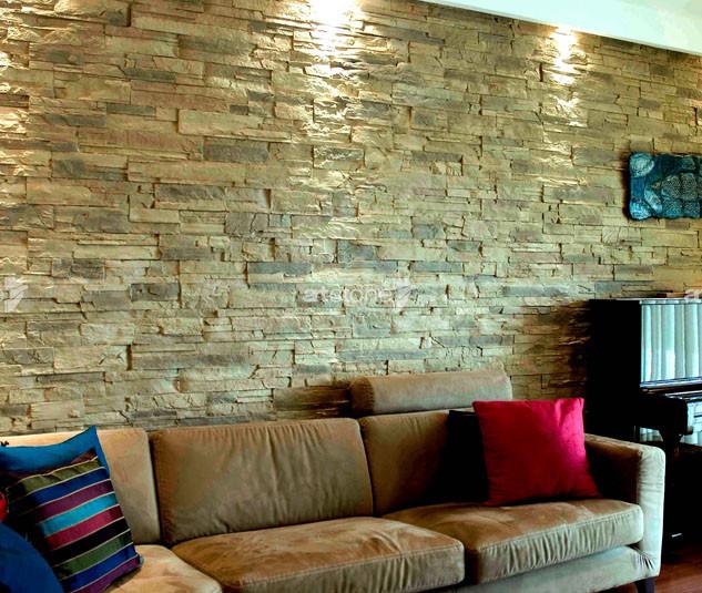 Wohnzimmer Wand Steinoptik