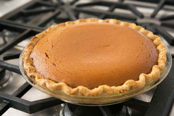 Pumpkin pie out of the oven