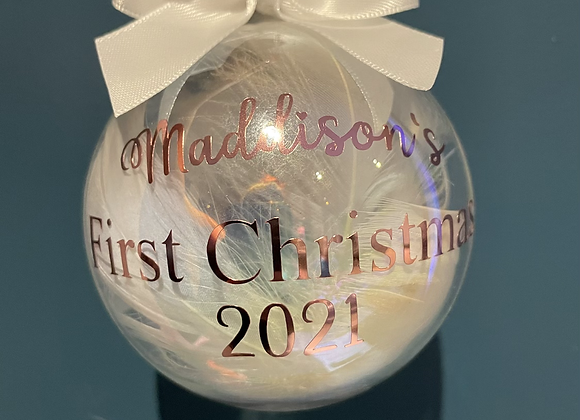 Glass Bespoke First Christmas Bauble