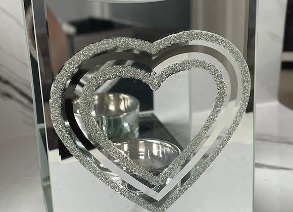 Silver Glitter Heart Wax Warmer