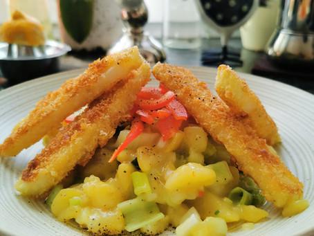 Kartoffel-Staudensellerie-Salat mit paniertem Kohlrabi