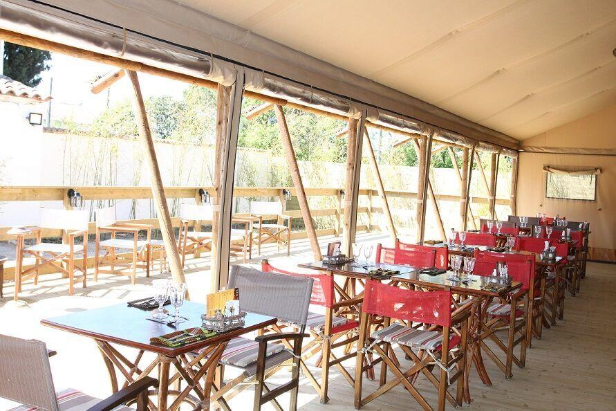 Restaurant tent interior