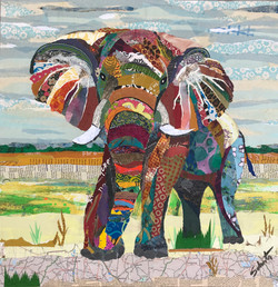 Elephant in the savanna  SOLD