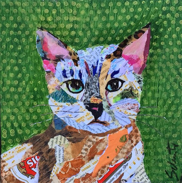 Kitty green background   SOLD!!