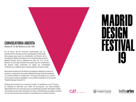 CONVOCATORIA ABIERTA// MADRID DESIGN FESTIVAL 2019