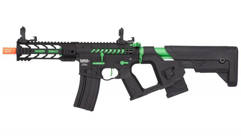 """Lancer Tactical Enforcer BATTLE HAWK 7"""" Skeleton AEG [HIGH FPS] - BLACK/GREEN"""