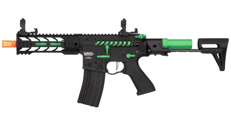 """Lancer Tactical ProLine BATTLE HAWK 7"""" PDW Skeleton AEG [HIGH FPS] - BLACK/GREEN"""