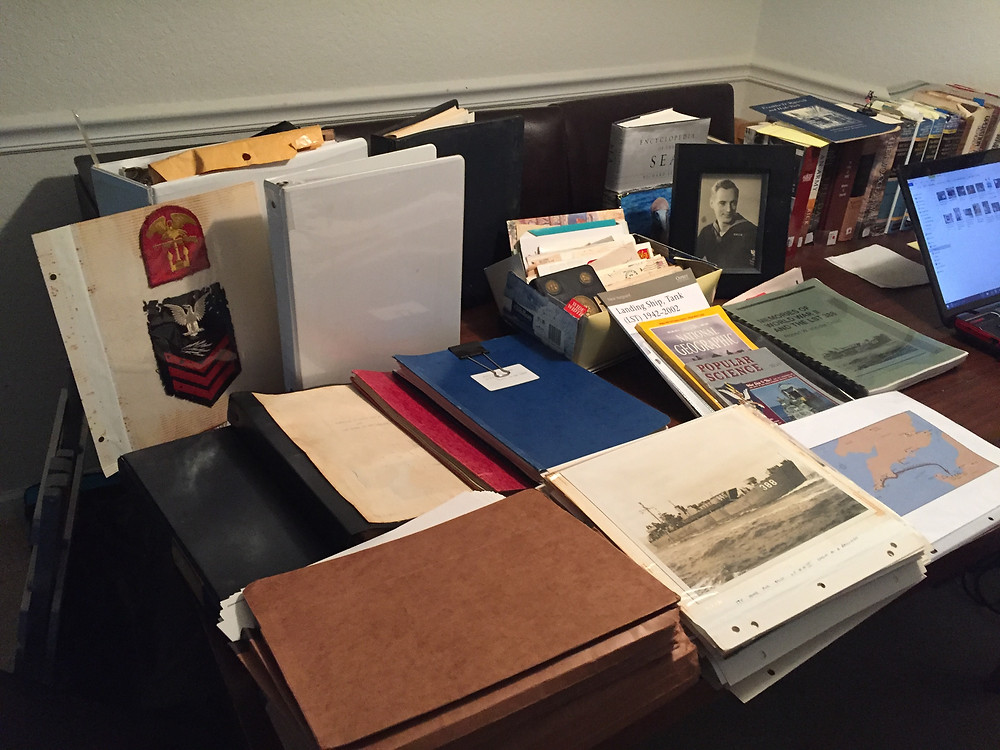War journals, photos, articles and notes comprising Robert von der Osten's collection relating to his WWII experience.