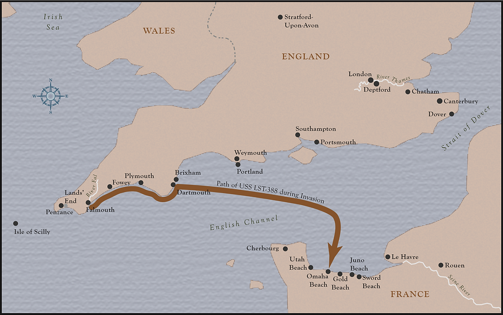 Map showing the path of the USS LST-388 to Omaha Beach on June 6, 1944.