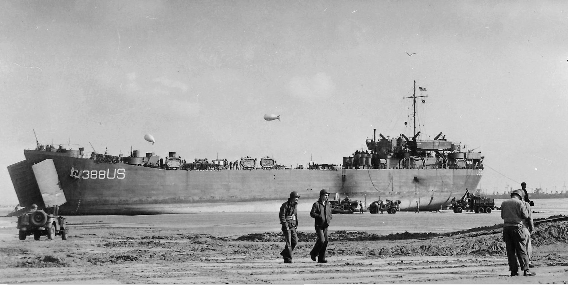 LST 388 on Normandy Beach