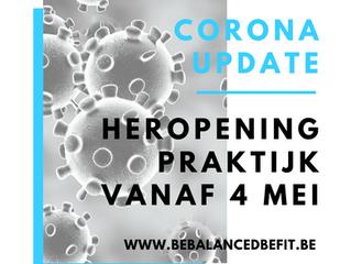 Corona update: Heropening praktijk vanaf 4 mei