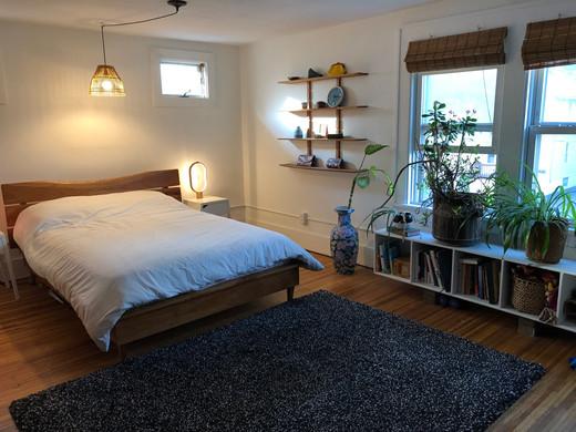 Cherry bed & shelves