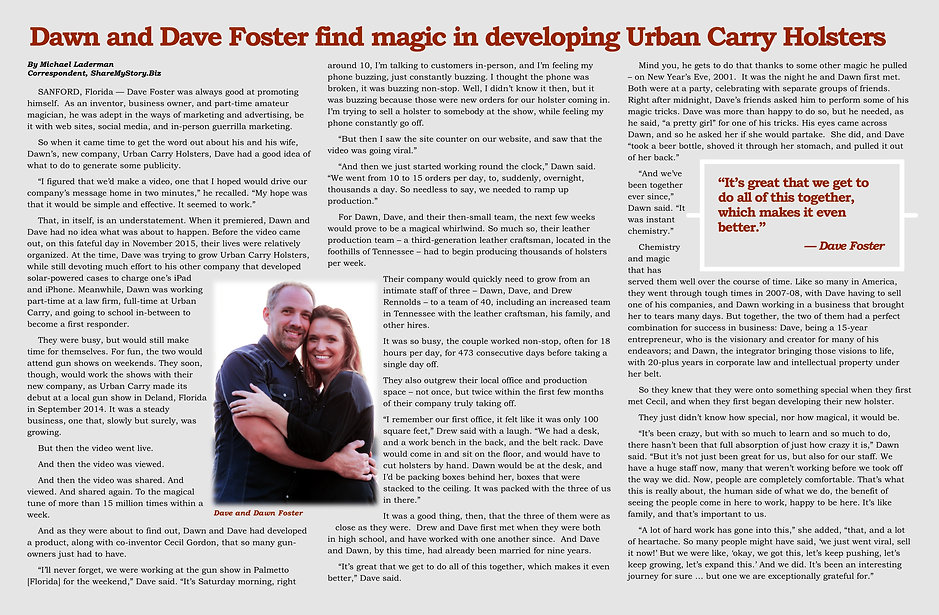 Dawn and Dave Foster find magic in developing Urban Carry Holsters