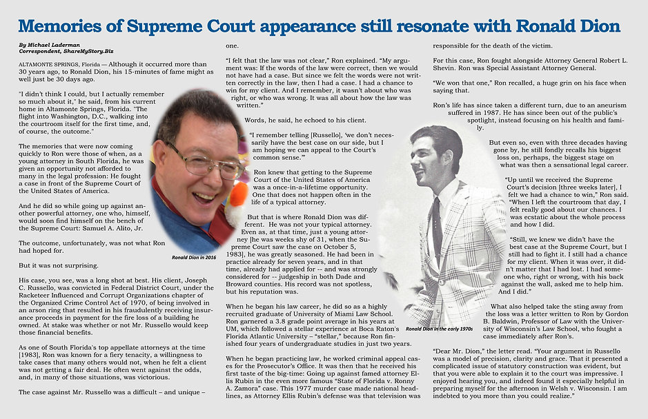 Memories of Supreme Court appearance still resonate with Ronald Dion