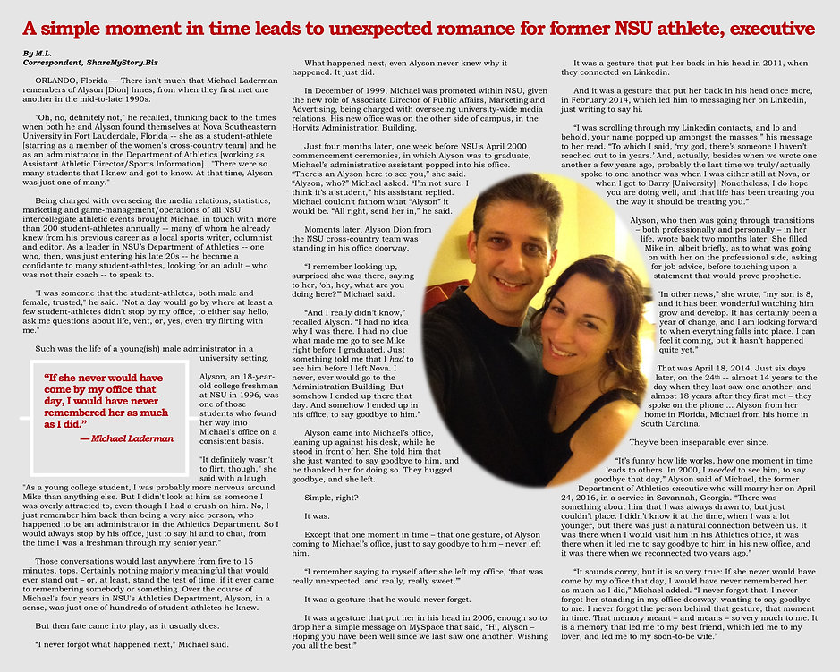 A simple moment in time leads to unexpected romance for former NSU athlete, executive