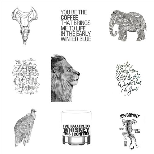 All 10 Hand Illustrated Original JB Prints