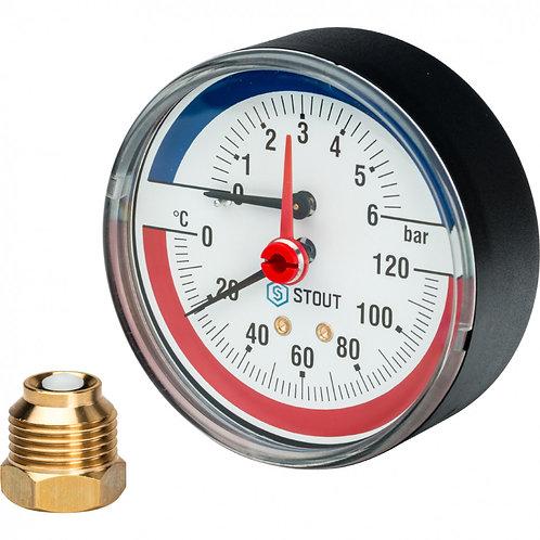 Термоманометр аксиальный 80 мм 6 бар Stout