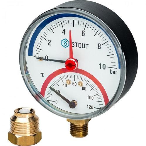 Термоманометр радиальный 80 мм 10 бар Stout