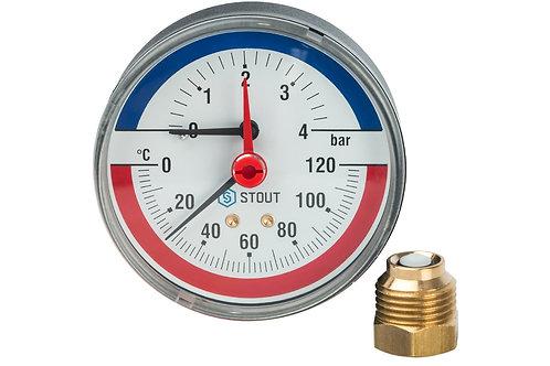 Термоманометр аксиальный 80 мм 4 бар Stout