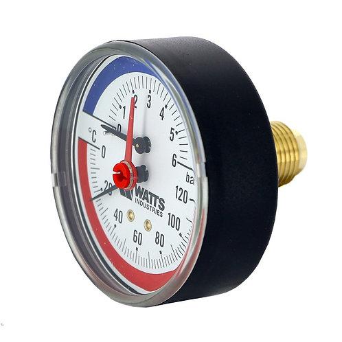 Термоманометр аксиальный 80 мм F+R818 (TMAP) 6 бар Watts