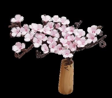 Sakura (cires) într-o vază din lemn de cireș Deocamdată indisponibil