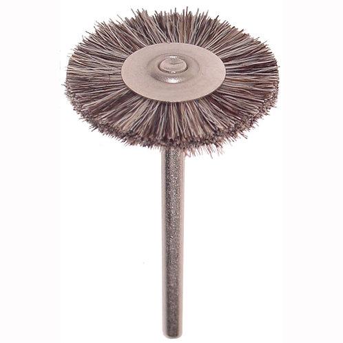 "Soft Bristle Wheel Brush, Double Section, 1"" Diameter 3/32"" Shank"
