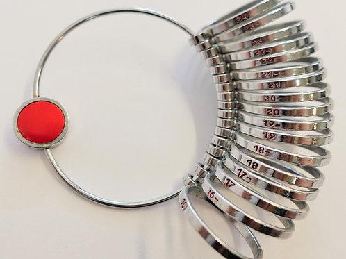 Ring Sizer: Flat, sizes 16-24.