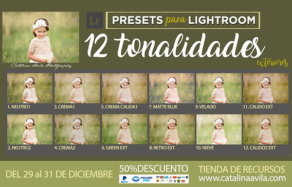 12 TONOS PRESETS / para versiones anteriores de Lr