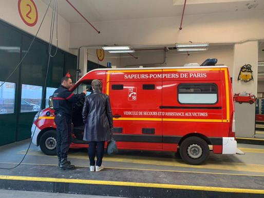 Visite de la caserne de la Brigade des sapeurs-pompiers de Paris, à Courbevoie
