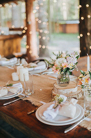 Wedding Table, Plates, Lights, Flowers