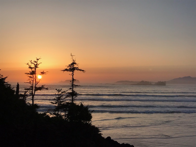 Beautiful sunset from Tofino beach