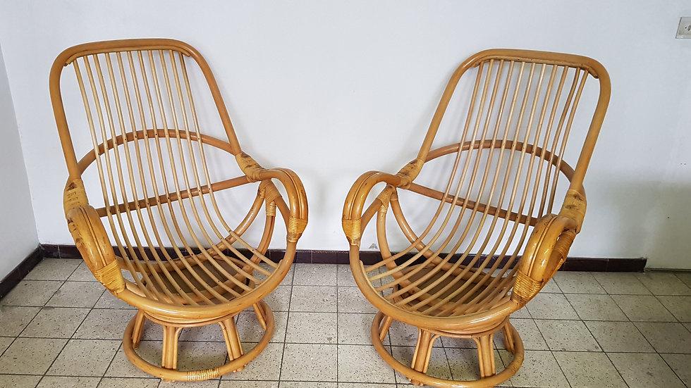 Paires de fauteuils en bambou