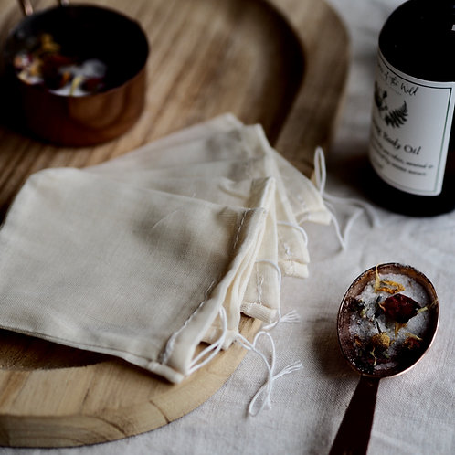 5 x Cotton Muslin Drawstring Bags