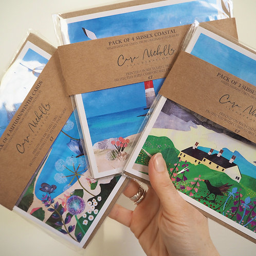 Sussex Coastal Cards - Mixed Pack of 3